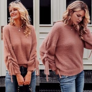 TAMMY Softest Ruched Sleeve Sweater